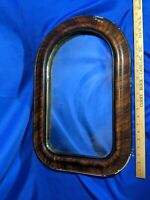 Antique Large Shaving Vanity Mirror Faux Tiger Wood Gilt Plaster 24x16 Picture