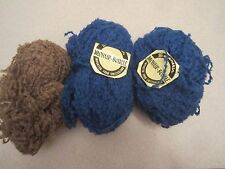 Spinnerin Mohair Boucle Switzerland 3 balls blue and brown 50 grams each NEW!