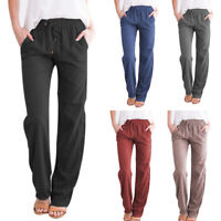 Womens Linen Pants Wide Leg High  Drawstring Casual Long Trousers BY