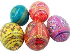 Authentic Russian Set of 5 Assorted Hand Painted Ukranian Pysanki Easter Eggs