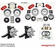 "Wilwood Brake Kit 1963-1986 Chevy C10,14"" Drilled Rotors,2.5"" Drop Spindles,Red"