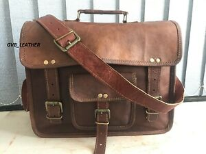 "15"" Real Leather Attache Strap Messenger Shoulder Laptop Bag Briefcase Business"