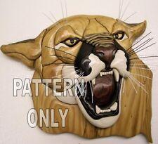 NEW  ~  INTARSIA WOOD PATTERN  ~ MOUNTAIN  LION  BUST