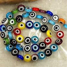 Mixed Lampwork Evil Eye Glass Flat Loose Beads 8x4mm FS