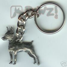 MIN PIN Miniature Pinscher Fine Pewter Keychain Key Chain Ring Fob