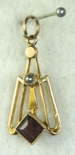 ANTIQUE 10K GOLD AMETHYST PEARL LAVALIERE PENDANT FOR A NECKLACE