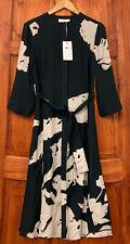 REISS Zana Placement Black Floral Printed Midi Shirt Dress NEW