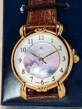 Thomas Kinkade Painter Of Light Women's Watch Lighthouse Brown Strap And.
