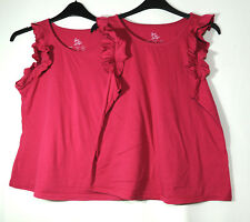 PURPLE PINK LADIES TOP VEST LOVE TO LOUNGE X2 SIZE 10/12 STRETCH ATMOSPHERE