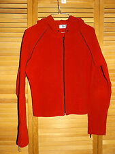 WOMENS Q & A FLEECE JACKET-DEEP RED- HOODED-FRONT ZIP-SIZE SMALL