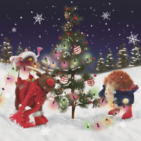 Pack of 8 Festive Felt Friends NSPCC Charity Christmas Cards Xmas Card