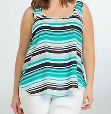 Torrid Striped Georgette Pocket Tank Top Blouse Turquoise Multi 5 5X 28 #1680