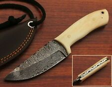 """6.75"""" Handmade Damascus Skinner Neck Knife """" Camel Bone Handle"""" (HKNK1006)"""