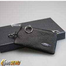 FORD Key Bag 100% Genuine Leather Car Remote Cover Fob Holder Case Chain Men