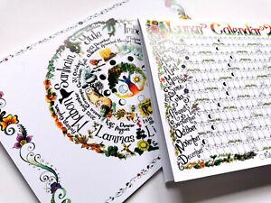 Two notebooks Lunar Calendar, Wheel Pagan Medieval Wicca journal Book of Shadows