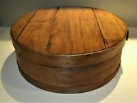 """Vtg Wisconsin Cheese Round Box Bentwood 1980-90's 15"""" x 5 3/4"""" Finished"""