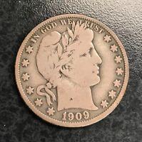 1909 Barber Half Dollar VG C-936