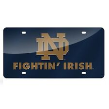 Notre Dame Fighting Irish Blue Mirrored Laser Cut License Plate Laser Tag