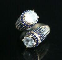 Turkish Handmade Jewelry Sterling Silver 925 Zircon Ladies Ring Adjustable