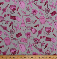 Pink Fashion Accessories Purses Shoes Jewelry Cotton Fabric Print BTY D384.06