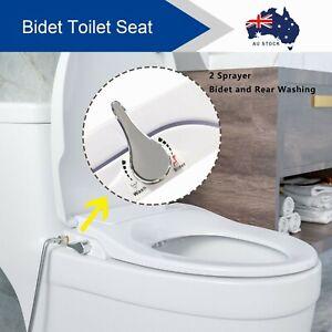 Non Electric Bidet Toilet Seat W/ Cover Bathroom Washlet Sprayer Dual Nozzles