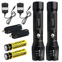 2PCS Garberiel 90000LM Tactical Zoomable T6 18650 LED Flashlight+Charger+Battery