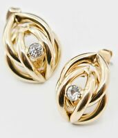 """Vintage Gold tone Pierced Rhinestone Earrings Estate Jewelry 7/8"""""""
