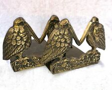 More details for pair of antique arts & crafts pelican brass book ends