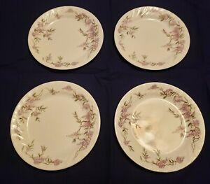 Corelle Wisteria pink & purple floral w/white swirl salad-dessert plate set of 4