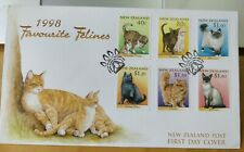 1998 New Zealand Favorite Felines Cats Stamp FDC face value NZ$6.70  Kucing