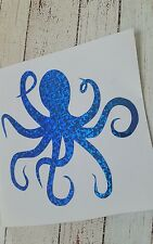 Octopus Decal Tumbler, Mugs, Car Decal Blue flakes w/Holographic effect 3.5 h