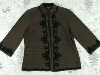 EUC Ming Wang Jacket brown white Black silver Open Front Embellished sweater