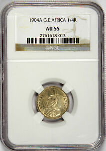 1904-A GERMAN EAST AFRICA 1/4 RUPEE ~ NGC AU55 ~ PRICED RIGHT!
