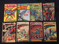 SUPERMAN & ACTION Bronze Age lot of 8 comics: #280,285,291,292,418,426, 464...VG