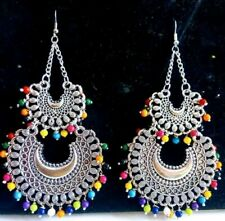 India Traditional Silver Oxidized Bollywood Fashion Jewelry Drop Earrings