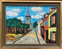 Original vintage oil painting on board, Old Cityscape, Signed F.Komros , framed