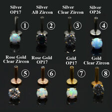 Zircon Opal 316l Steel Labret Lip Bar Ring Piercing Ear Cartilage Tragus Earring