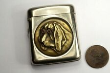 More details for antique english nickel brass bloodhound dog match safe / vesta case c1900