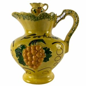 """DeForest of California Cookie Jar Yellow Pitcher Design 10.5"""" Tall Vintage 1960s"""