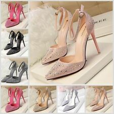 Womens Ladies High Heels Pointed-toe Stiletto Shoes Ankle Straps Shinny Sandals