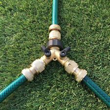2 WAY DOUBLE GARDEN TAP HOSE ADAPTER TWIN SPLITTER BRASS OUTDOOR CONNECTOR 3/4