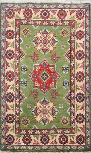 GREEN Vegetable Dye Oriental Super Kazak Wool Hand-Knotted Area Rug 2x3 Carpet