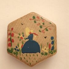Painted Lady In A Blue Gown & Bonnet With Flowers Vintage Hexagonal Button 24mm