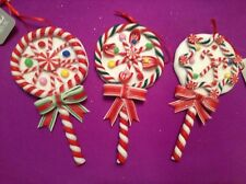 NEW SET OF 3 RAZ IMPORTS CANDY LOLLIPOP CLAY DOUGH CHRISTMAS ORNAMENTS