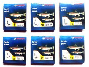 6 x Vorfachhaken Hakenbriefchen Forelle verschiedene Größen Angelhaken Wurmhaken