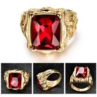Men's Gold Stainless Steel Princess Red Garnet Signet Gemstone Band Ring Jewelry