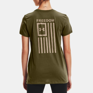 Under Armour Women's UA Heatgear Freedom Flag T-Shirt. Marine OD Green