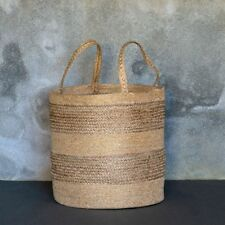 Rustic Natural Jute Gold Metallic Round Storage Laundry Basket Xolani Dassie