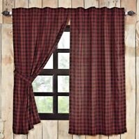CUMBERLAND Panel Set Red//Black Plaid Cabin Lodge Rustic Primitive Hunting 84x40