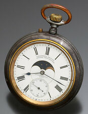Rare German Gun Metal Double Dial Moon Phase Calendar Pocket Watch CA1885